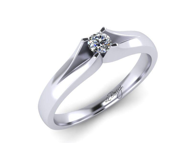 Inel de logodna din aur alb 14K cu diamant de 0,05 ct - MDA066 LA Beruzi