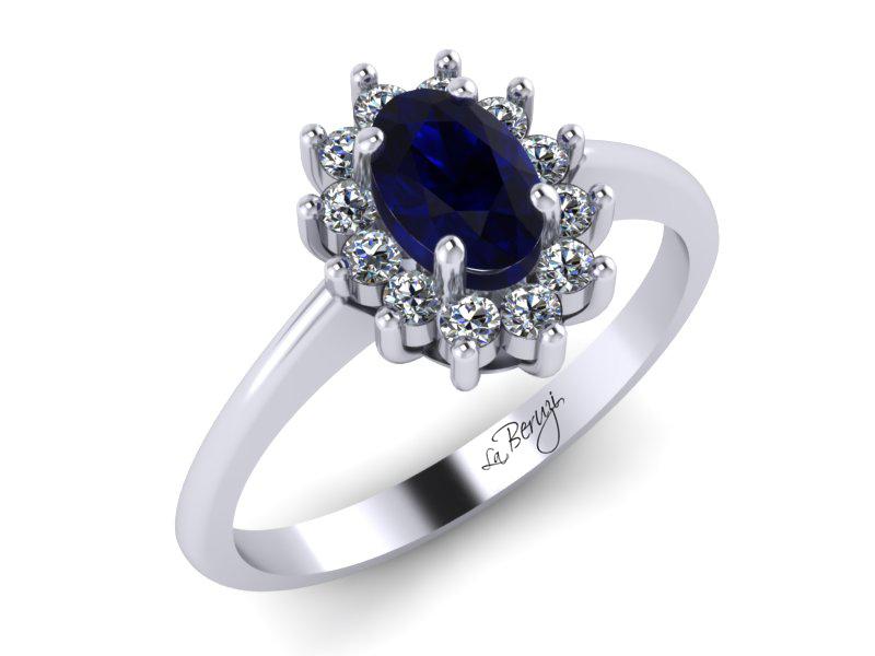 Inel de logodna din aur alb 14K cu Smarald si Diamante  - MDS012d