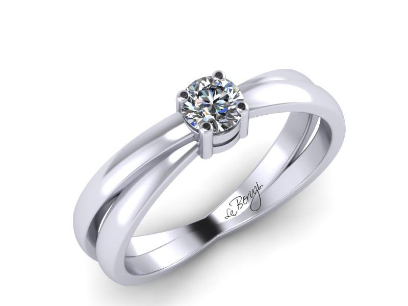 Inel de logodna din aur alb 14K cu diamant de 0,10 ct - MDA065 LA Beruzi
