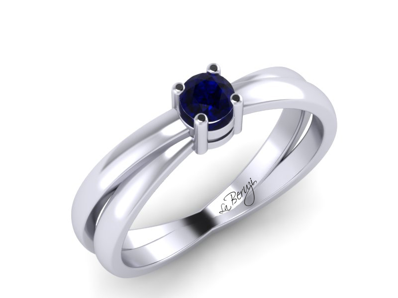 Inel de logodna din aur alb 14K cu Safir - MDS013d