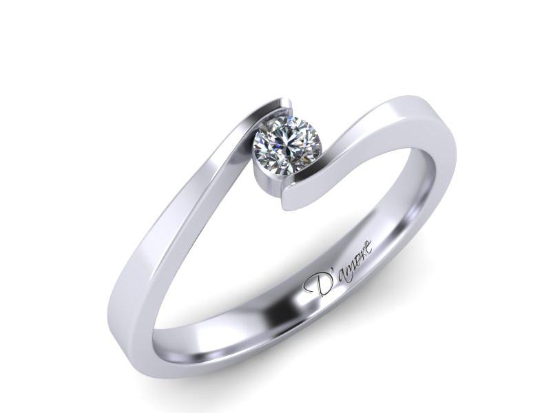 Inel de logodna din aur alb 14K cu diamant de 0,10 ct - MDA006 V2