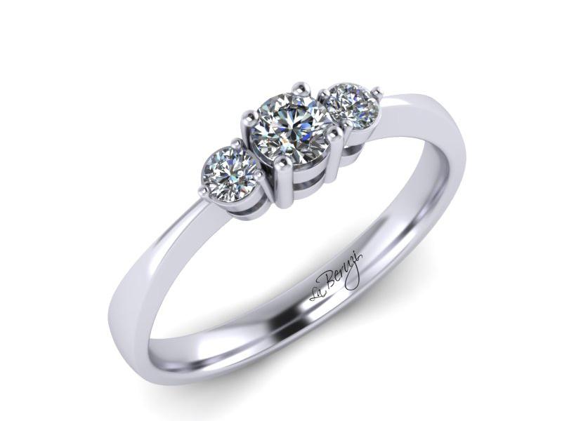 Inel de logodna din aur alb 14K cu diamant de 0,17 ct - MDA018d LA Beruzi