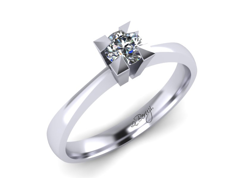 Inel de logodna din aur alb 14K cu diamant de 0,15 ct - MDA064d V2 LA Beruzi