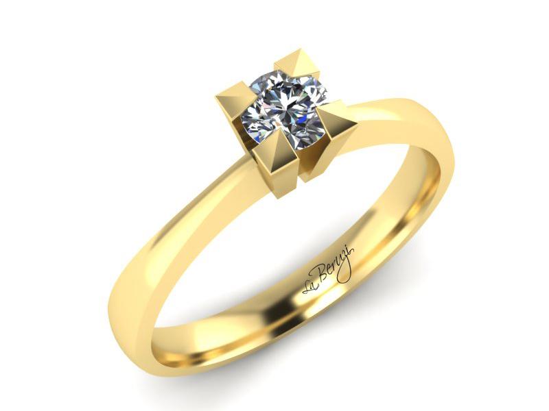Inel de logodna din aur galben 14K cu diamant de 0,20 ct - MDA024d V3 LA Beruzi