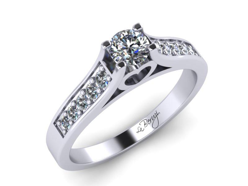 Inel de logodna din aur alb 14K cu diamant de 0,26 ct - MDA032d V2 LA Beruzi