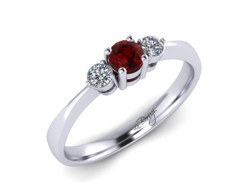 Inel de logodna din aur alb 14K cu Rubin si diamante de 0,09 ct - LDR 052d