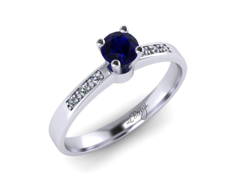 Inel de logodna din aur alb 14K cu diamante de 0,16 ct - MDS054d