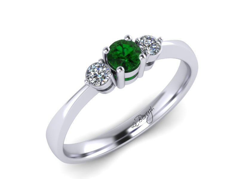 Inel de logodna din aur alb 14K cu Smarald si diamante de 0,09 ct - MDZ 052d