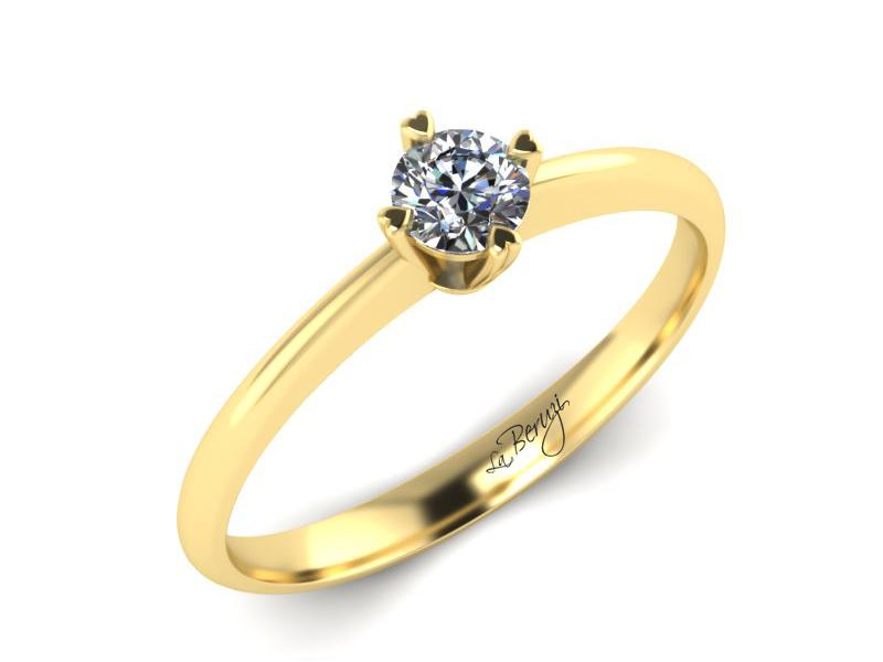 Inel de logodna din aur galben 14K cu diamant de 0,30 ct - MDA061d V3 LA Beruzi