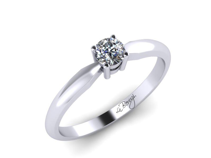 Inel de logodna din aur alb 14K cu diamant de 0,15 ct - MDA063d V1 LA Beruzi