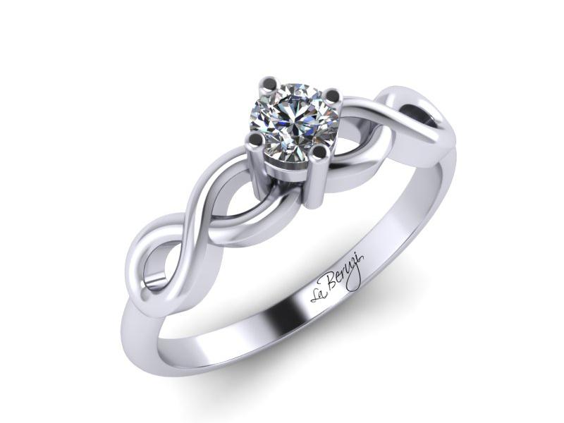 Inel de logodna din aur alb 14K cu diamant de 0,12 ct - MDA068 V1