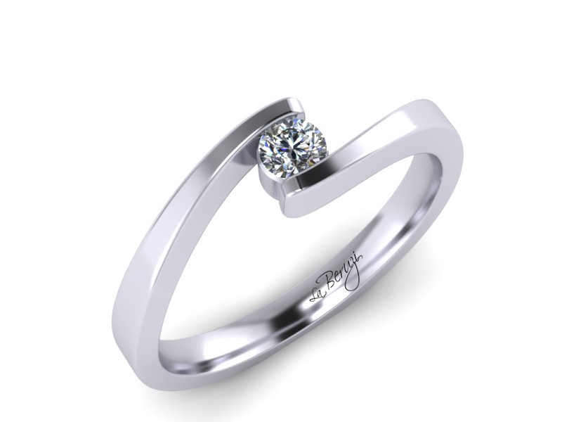 Inel de logodna din aur alb 14K cu diamant de 0,12 ct - MDA072d V1 LA Beruzi