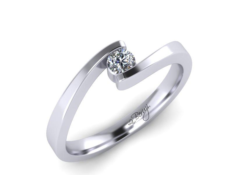Inel de logodna din aur alb 14K cu diamant de 0,15 ct - MDA072d V2 LA Beruzi