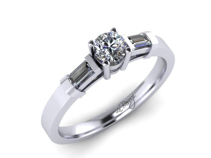 Inel de logodna din aur alb 14K cu diamant de 0,18 ct - MDA067 LA Beruzi