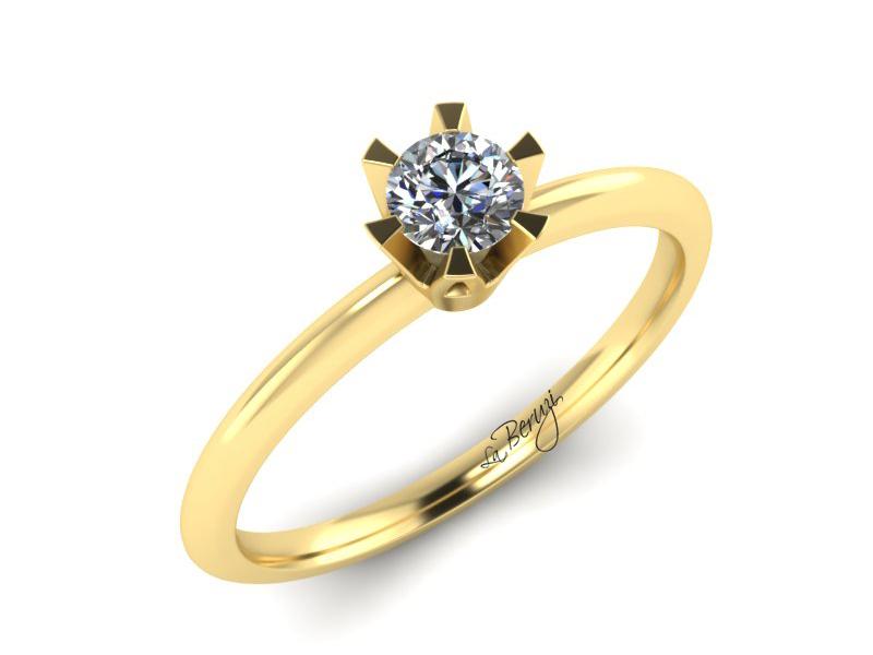 Inel de logodna din aur alb 14K cu diamant de 0,10 ct - MDA069 LA Beruzi