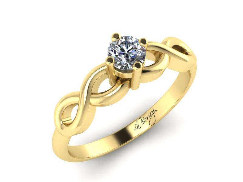 Inel de logodna din aur galben 14K cu diamant de 0,20 ct - MDA 068 V3 LA Beruzi