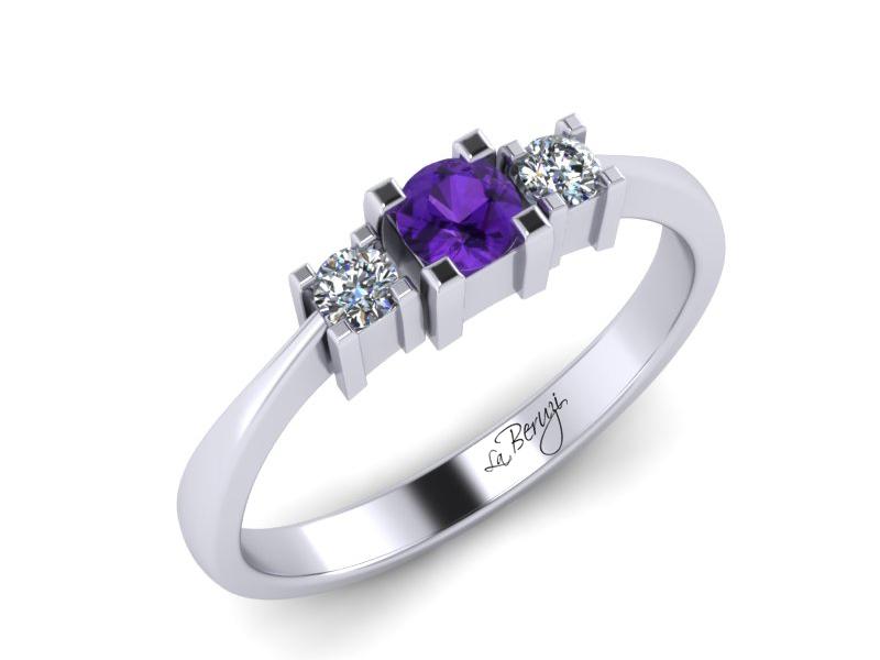 Inel de logodna din aur alb 14K cu Ametist si diamante de 0,08 ct  - MDM013