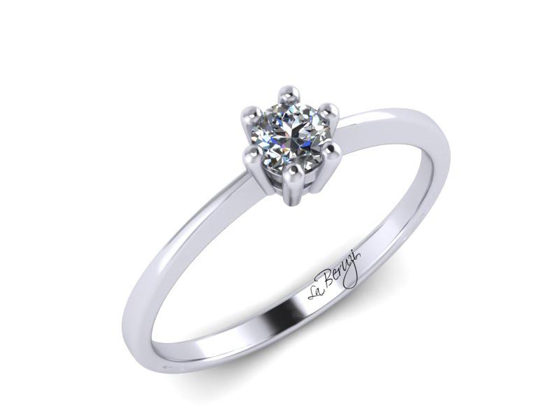 Inel de logodna din aur alb 14K cu diamant de 0,10 ct - MDA040