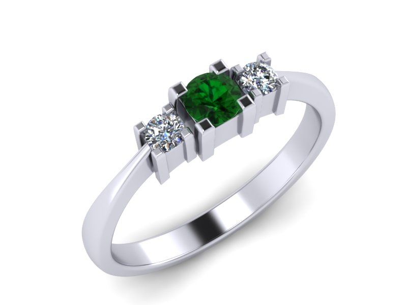 Inel de logodna din aur alb 14K cu Zmarald si diamante de 0,08 ct  - MDZ013