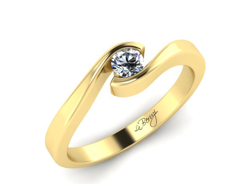 Inel de logodna din aur galben 14K cu diamant de 0,12 ct - MDA006 V3