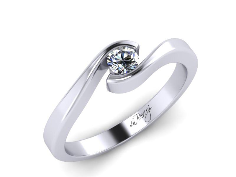 Inel de logodna din aur alb 14K cu diamant de 0,20 ct - MDA006 V1