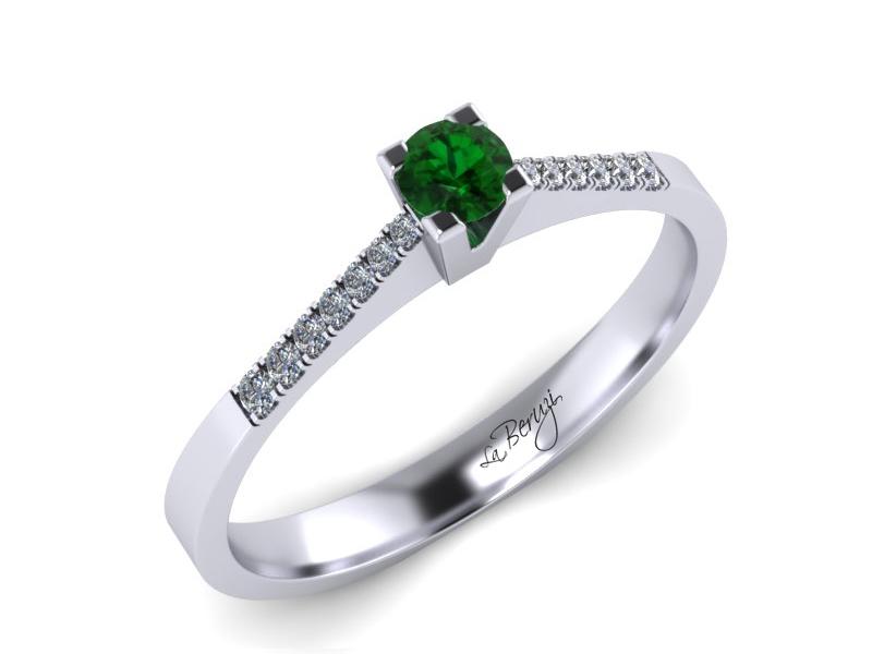 Inel de logodna din aur alb 14K cu Zmarald si diamante 0,14 ct - MDZ038