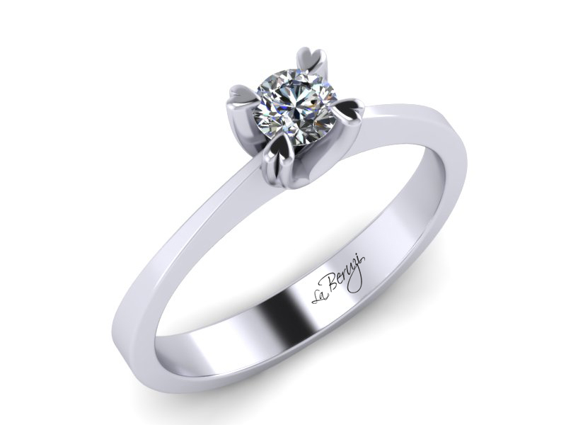 Inel de logodna din aur alb 14K cu diamant de 0,12 ct - MDA007