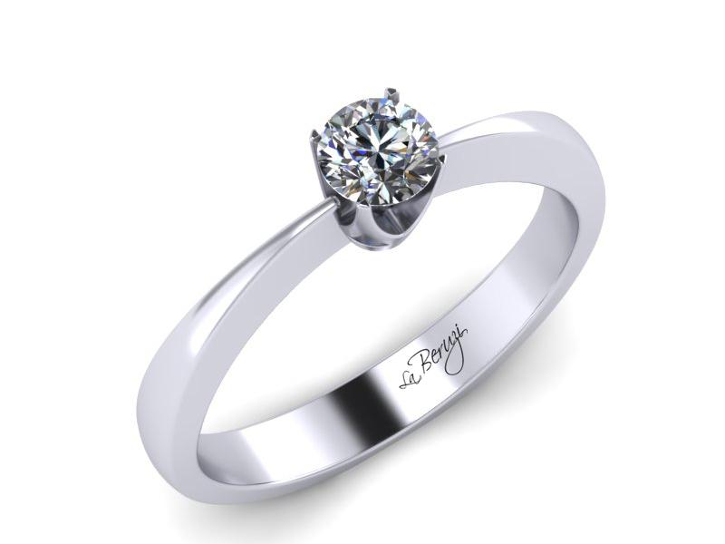 Inel de logodna din aur alb 14K cu diamant de 0,10 ct - MDA010
