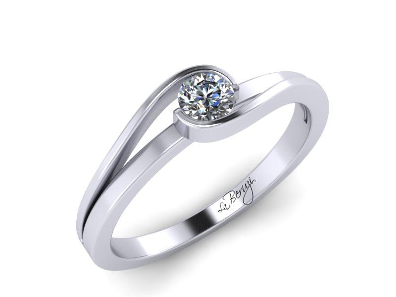 Inel de logodna din aur alb 14K cu diamant de 0,12 ct - MDA012 V1