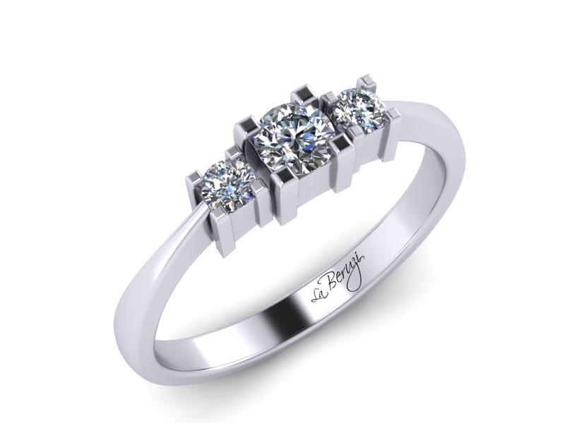 Inel de logodna din aur alb 14K cu diamante de 0,16 ct  - MDA013