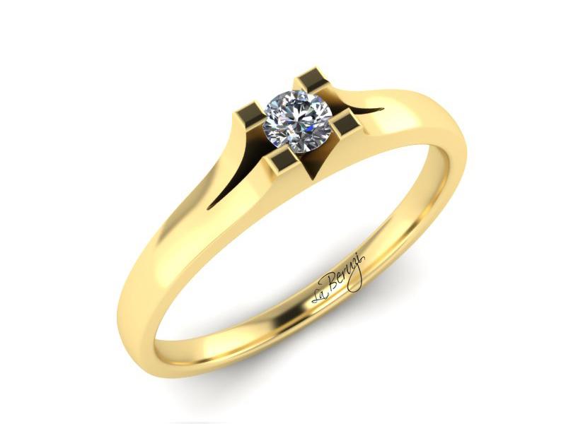 Inel de logodna din aur galben 14K cu diamant de 0,15 ct - MDA015 V3