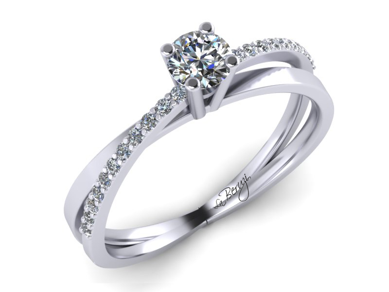 Inel de logodna din aur alb 14K cu diamante 0,23 ct - MDA016 V1