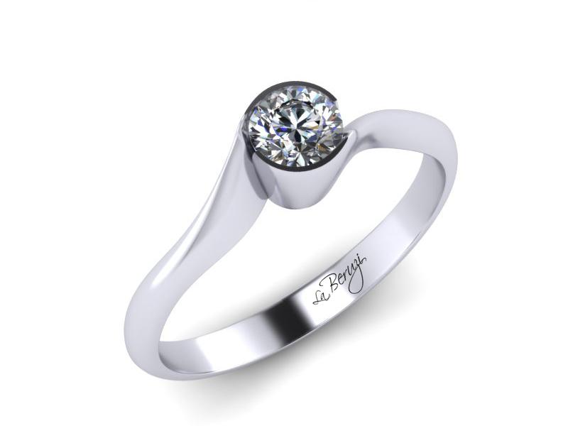 Inel de logodna din aur alb 14K cu diamant de 0,08 ct - MDA020 V1