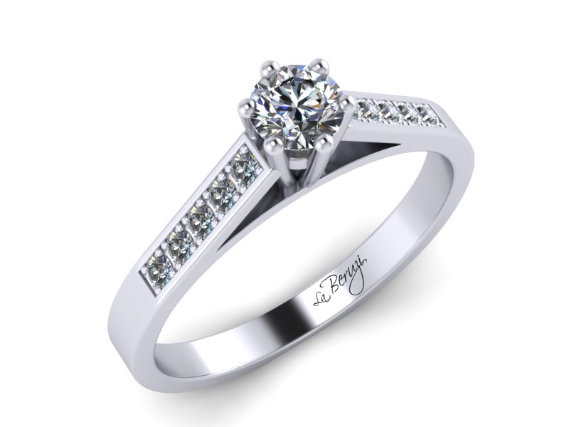 Inel de logodna din aur alb 14K cu diamante de 0,22 ct  - MDA026