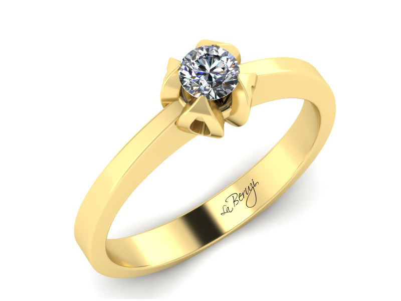 Inel de logodna din aur galben 14K cu diamant de 0,20 ct - MDA003 V2