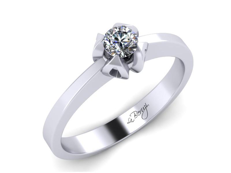 Inel de logodna din aur alb 14K cu diamant de 0,15 ct - MDA003 V1