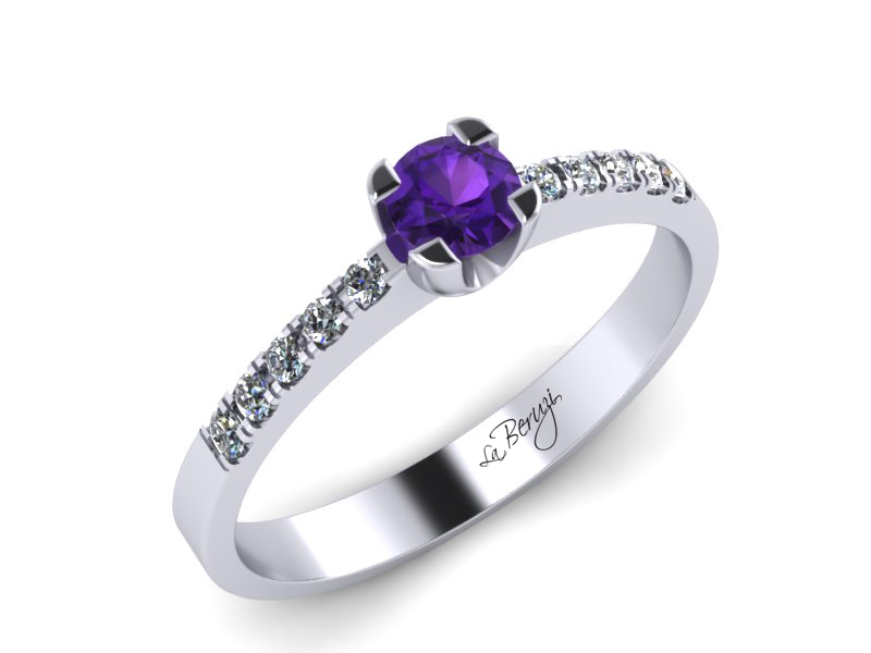 Inel de logodna din aur alb 14K cu Ametist de 3,5mm si diamante de 0,12 ct - MDM002
