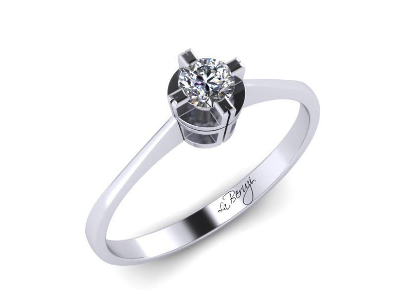Inel de logodna aur alb 14K 1 x diamant de 0,15 ct MDA004