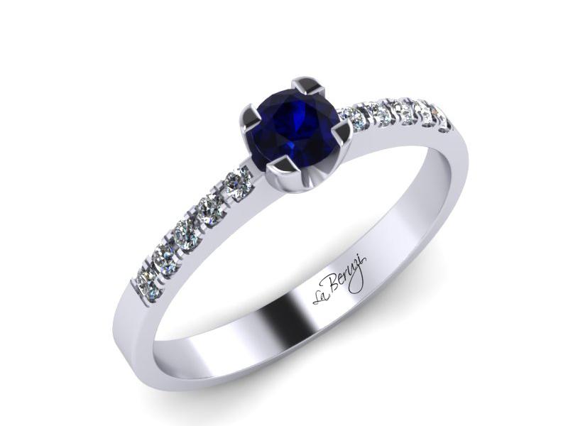Inel de logodna din aur alb 14K cu Safir de 3,5mm si diamante de 0,12 ct - MDS002