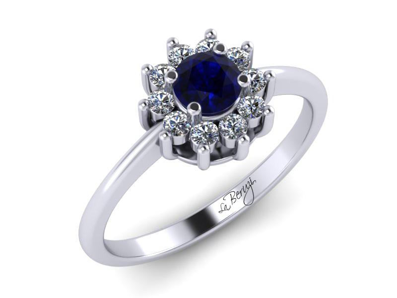 Inel de logodna din aur alb 14K cu Safir si diamante de 0,13 ct - MDS030