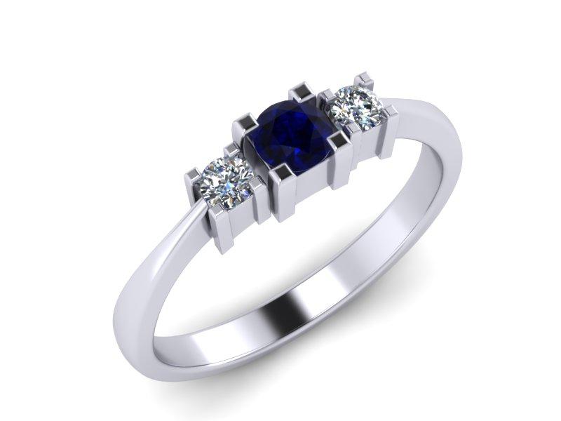 Inel de logodna din aur alb 14K cu Safir si diamante de 0,08 ct  - MDS013