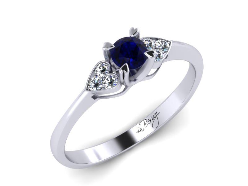 Inel de logodna aur alb 14K cu Safir si diamante de 0,06ct- MDS008