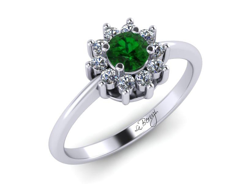 Inel de logodna din aur alb 14K cu Zmarald si diamante de 0,13 ct - MDZ030