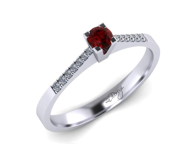 Inel de logodna din aur alb 14K cu Rubin si diamante 0,14 ct - MDR038