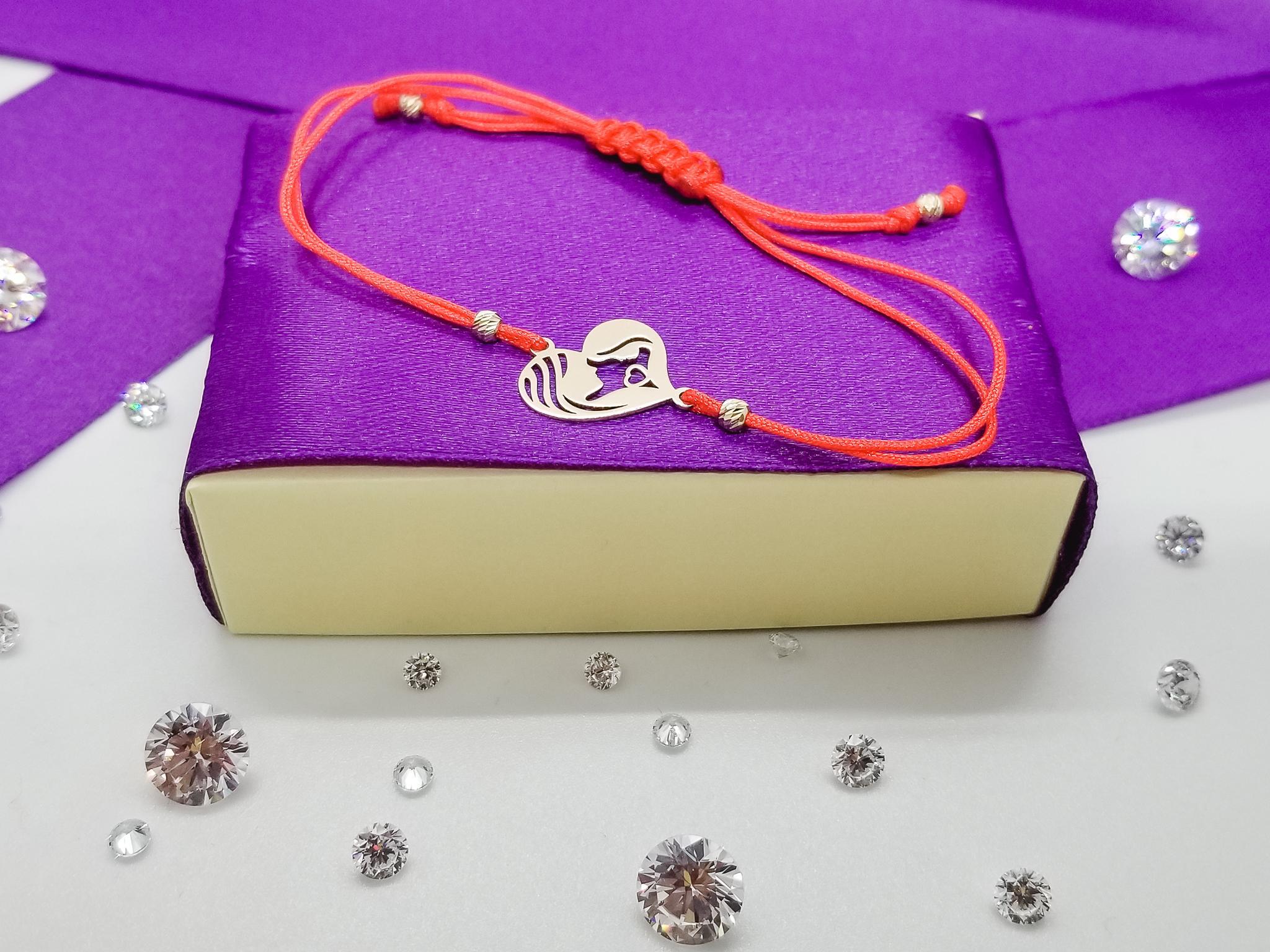 Bratara FATI 207 Mama si Fetita din aur galben de 14K cu snur rosu.