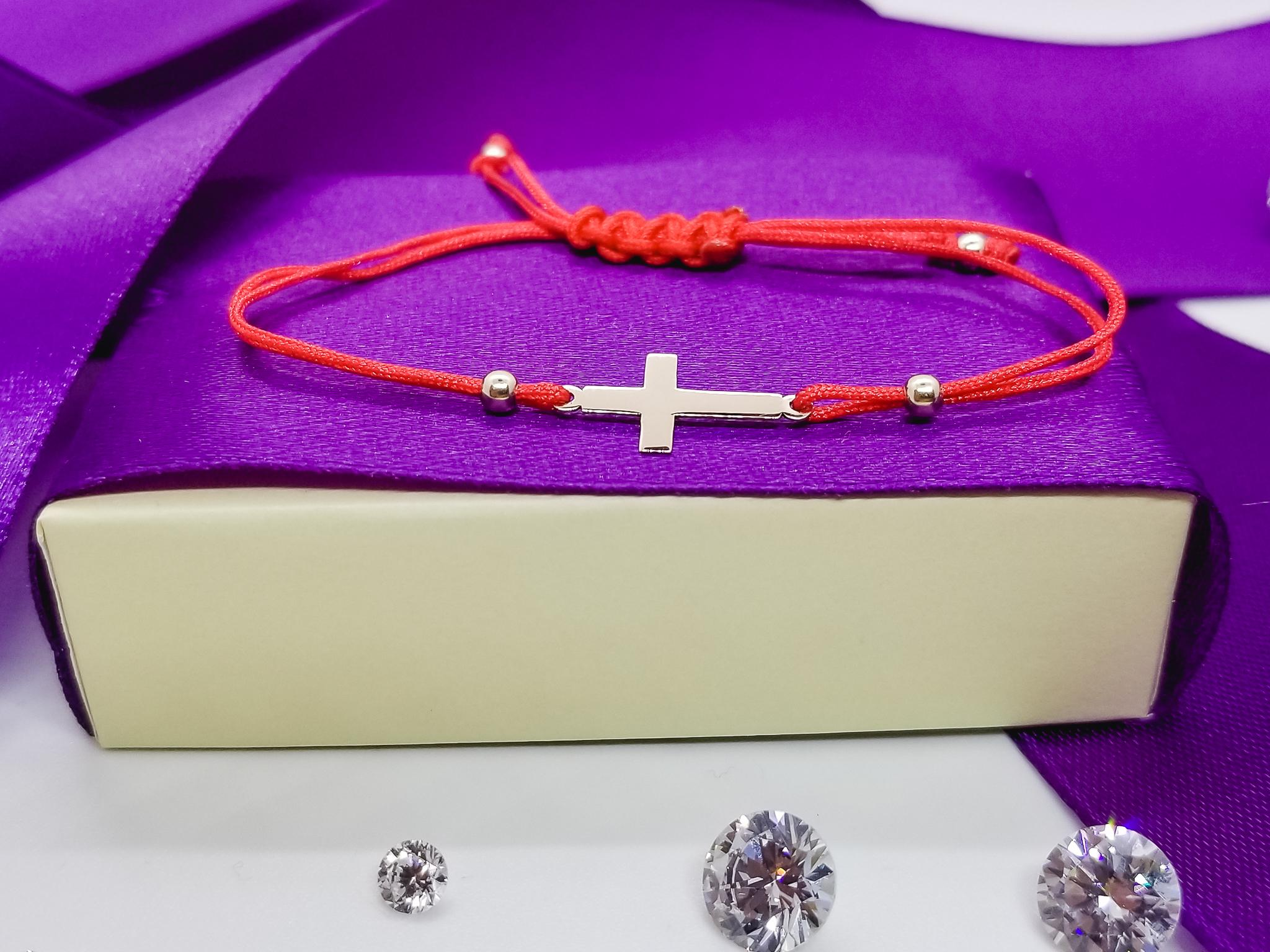 Bratara FATI 24 din aur galben de 14K cu snur rosu model Cruce