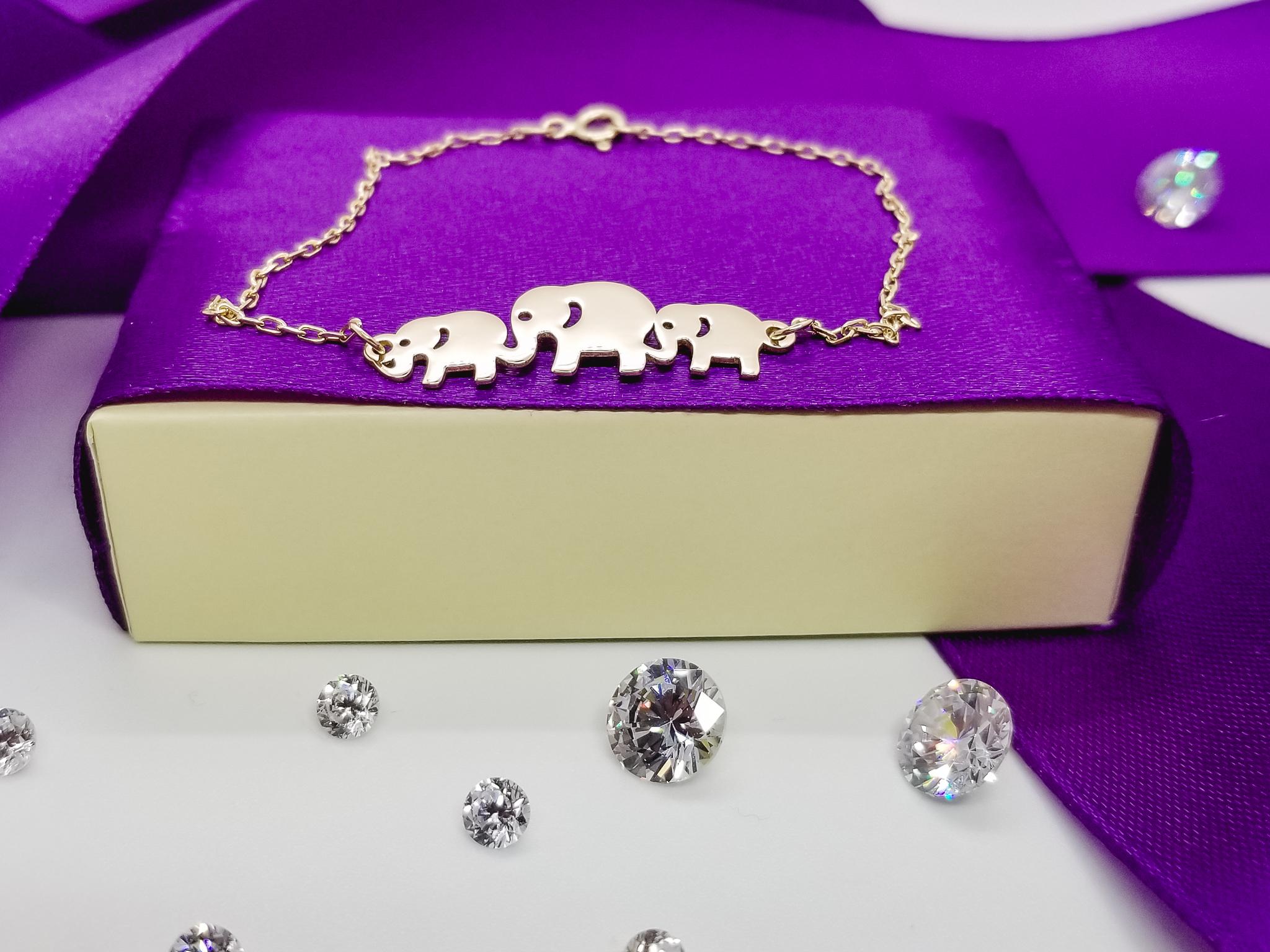 Bratara FATI 27 din aur galben de 14K cu lant si medalion 3 elefanti